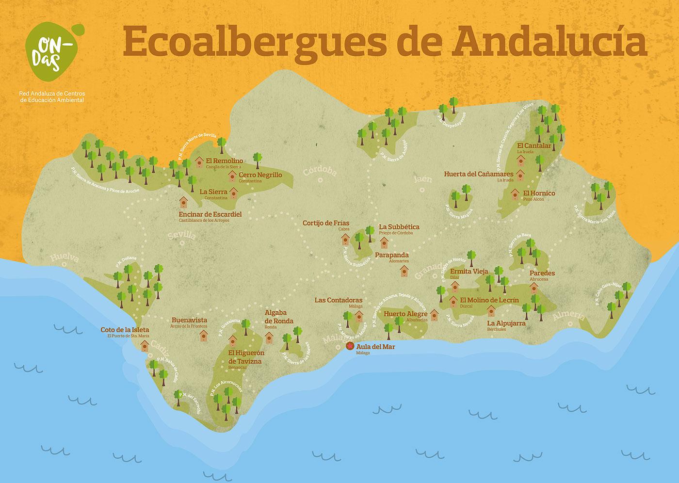 Mapa Eco Albergues de Andalucía